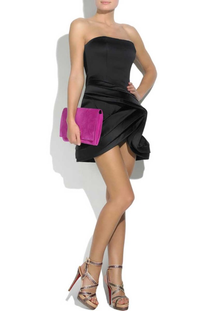 Glitter-high-heel-looks-stylish-with-cocktail-dress-and-pink-clutch