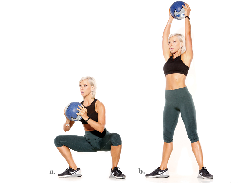 Simple home workout with a medicine ball