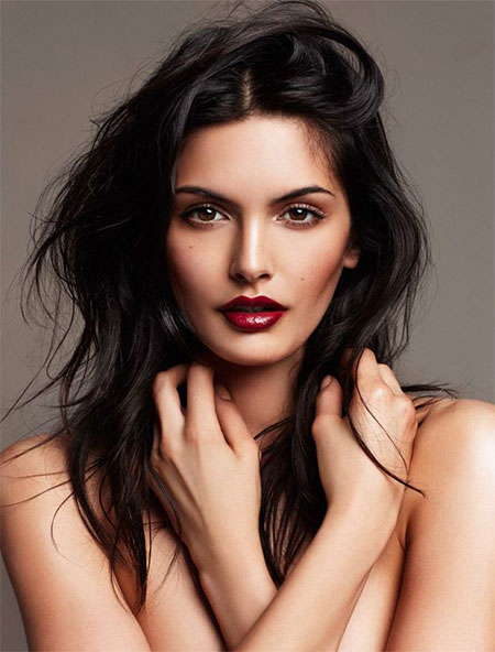 Compliment your winter eye makeup with a deep red lip