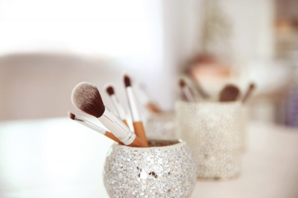 Set of professional makeup brushes, closeup