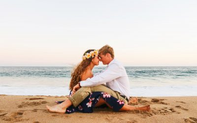 Shot of couple in embrace on beach