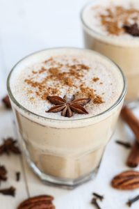 The humble chai latte in glass cups
