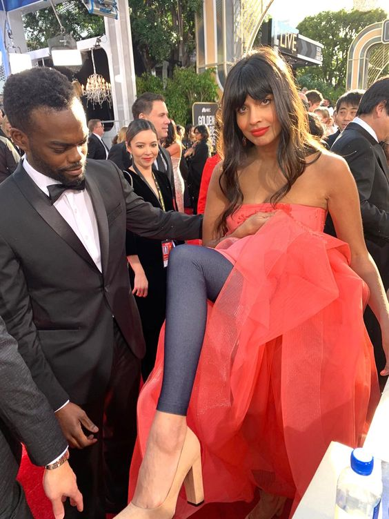 Jameela Jamil jeans under dress golden globes