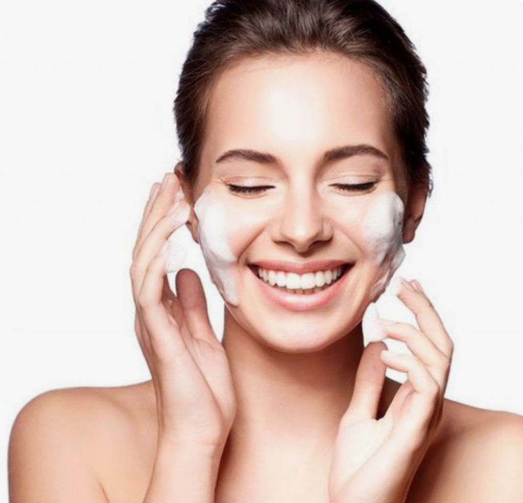 girl skincare smiling