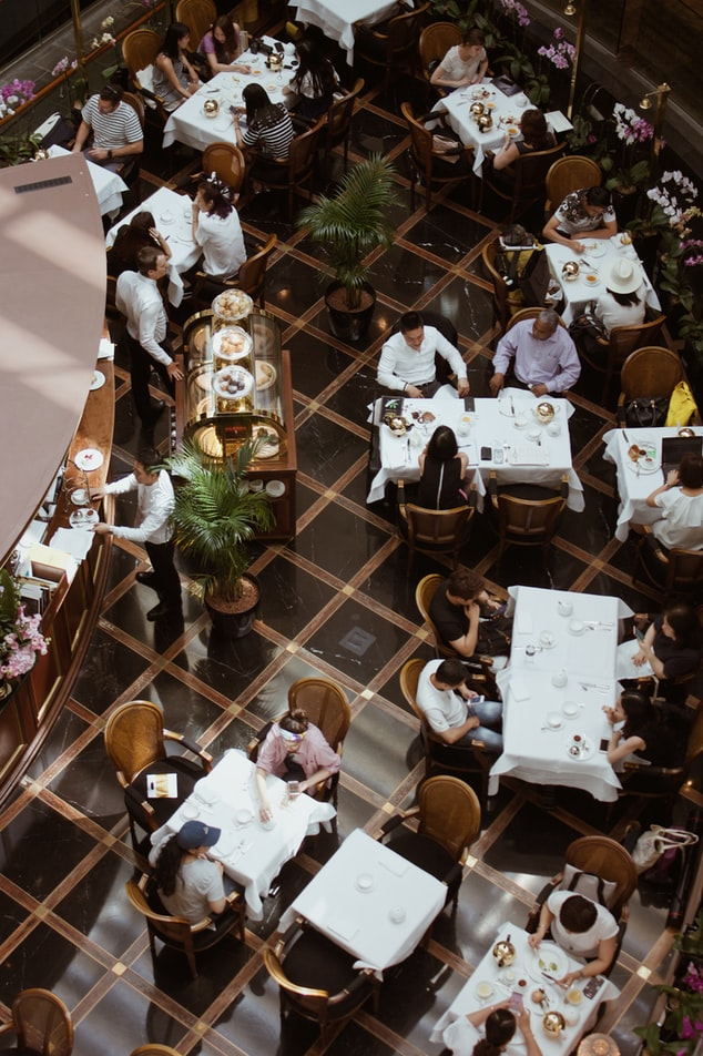aerial image of diners at restaurant tables
