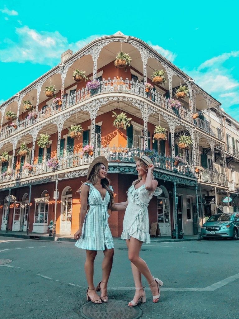Two girls roaming the French Quarter of New Orleans
