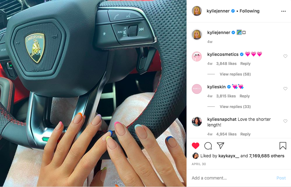 Kylie Jenner Rainbow French Tips In Car