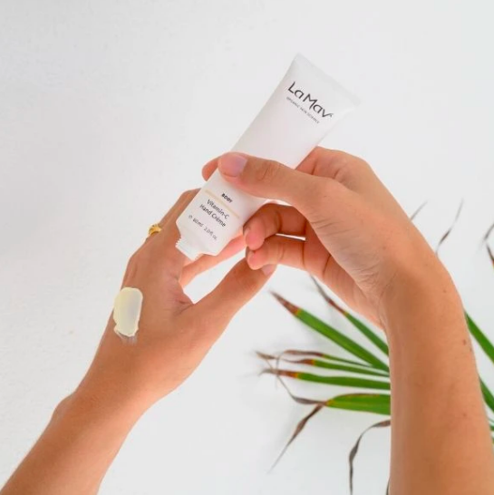 La Mav Vitamin-C Hand Crème being applied on hands - image from website