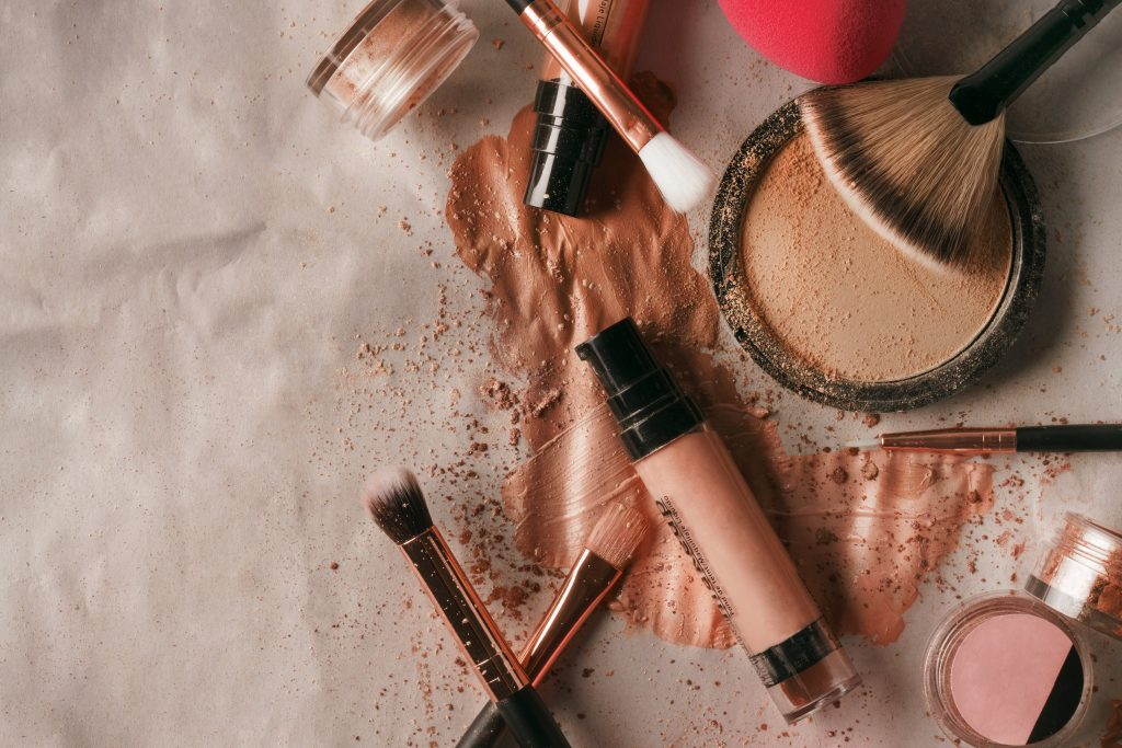 make-up products in a pile