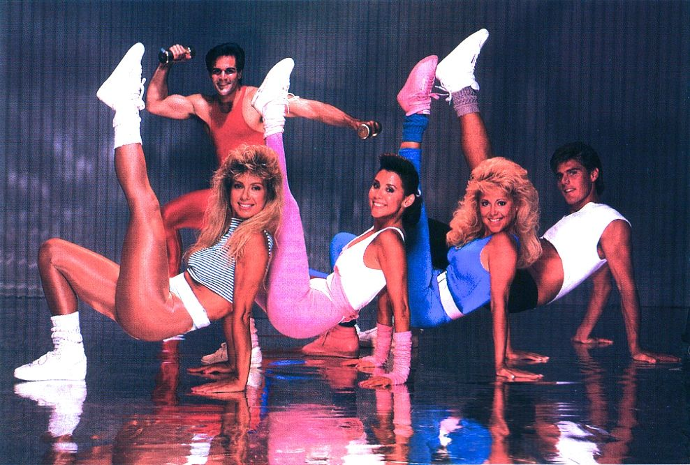 Aerobics class from the 80s