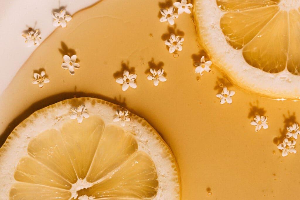 lemon and poured honey with elderflowers
