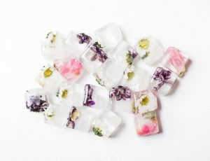 Floral Ice cubes aerial view.