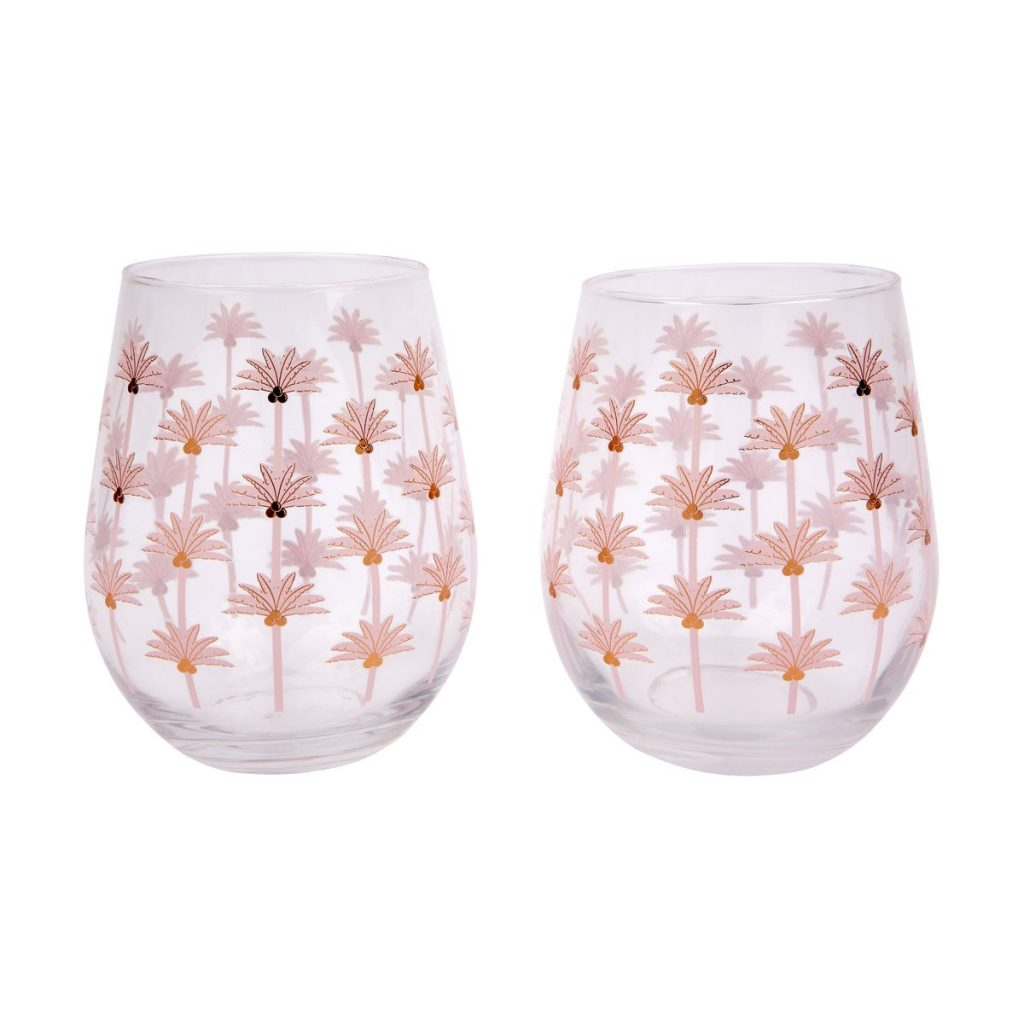 stemless glasses with pink details