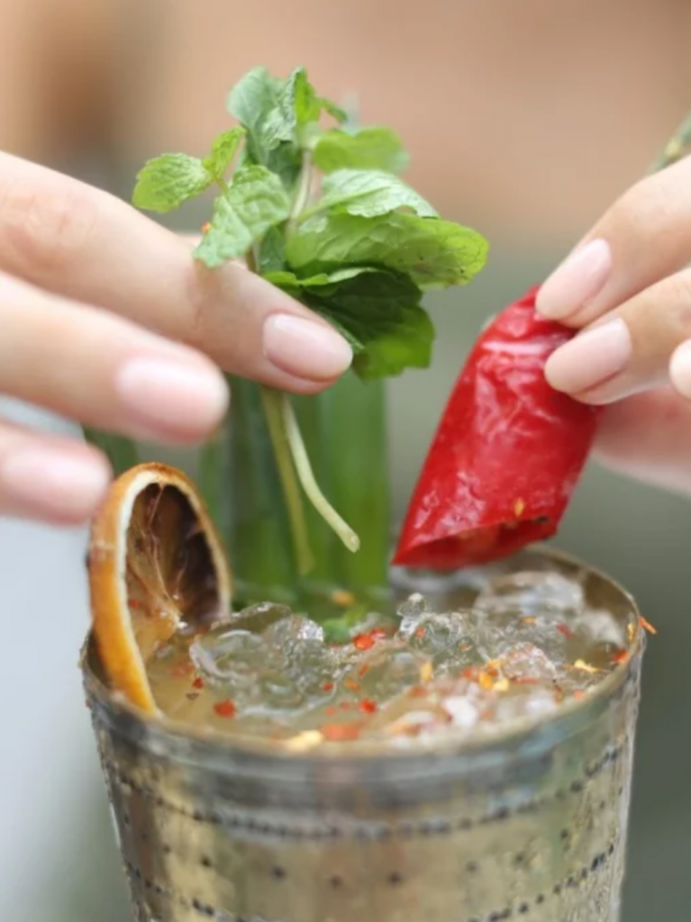 A chilli and mint cocktail