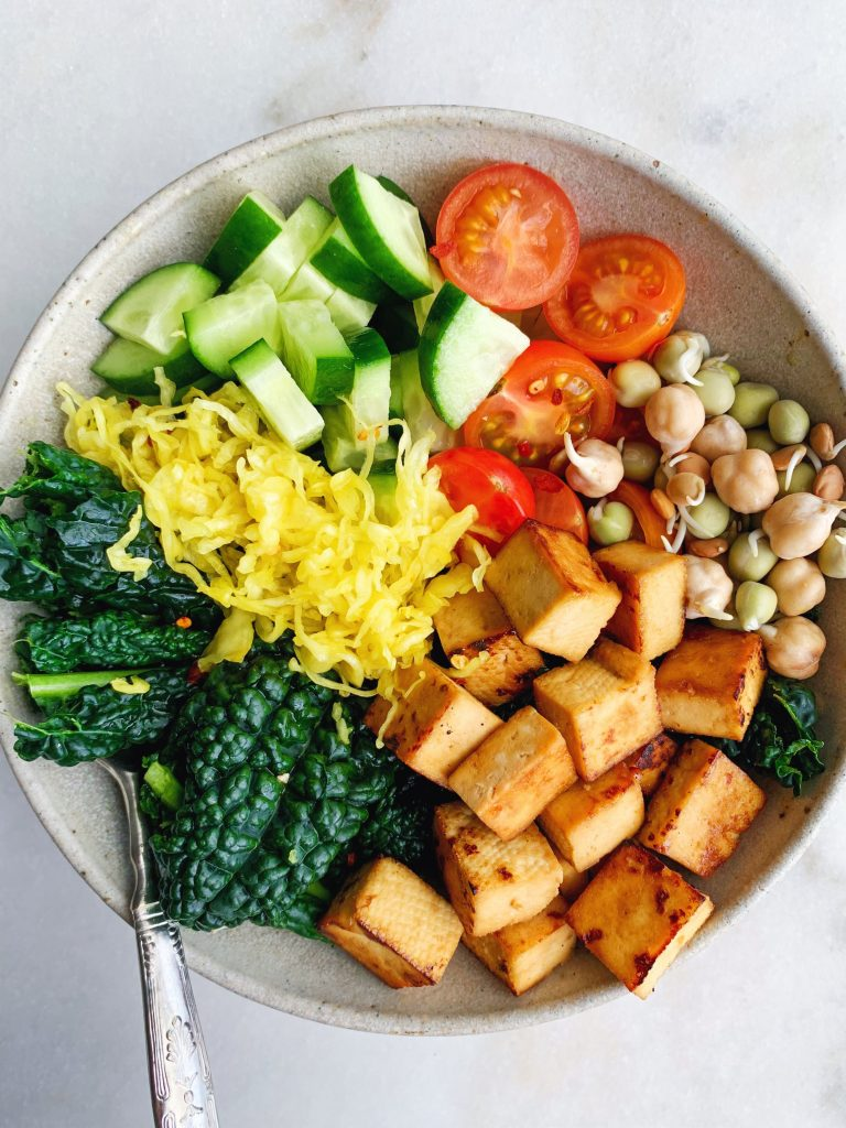 Rainbow Tofu Vegetable Bowl made with Aussie sprouts.