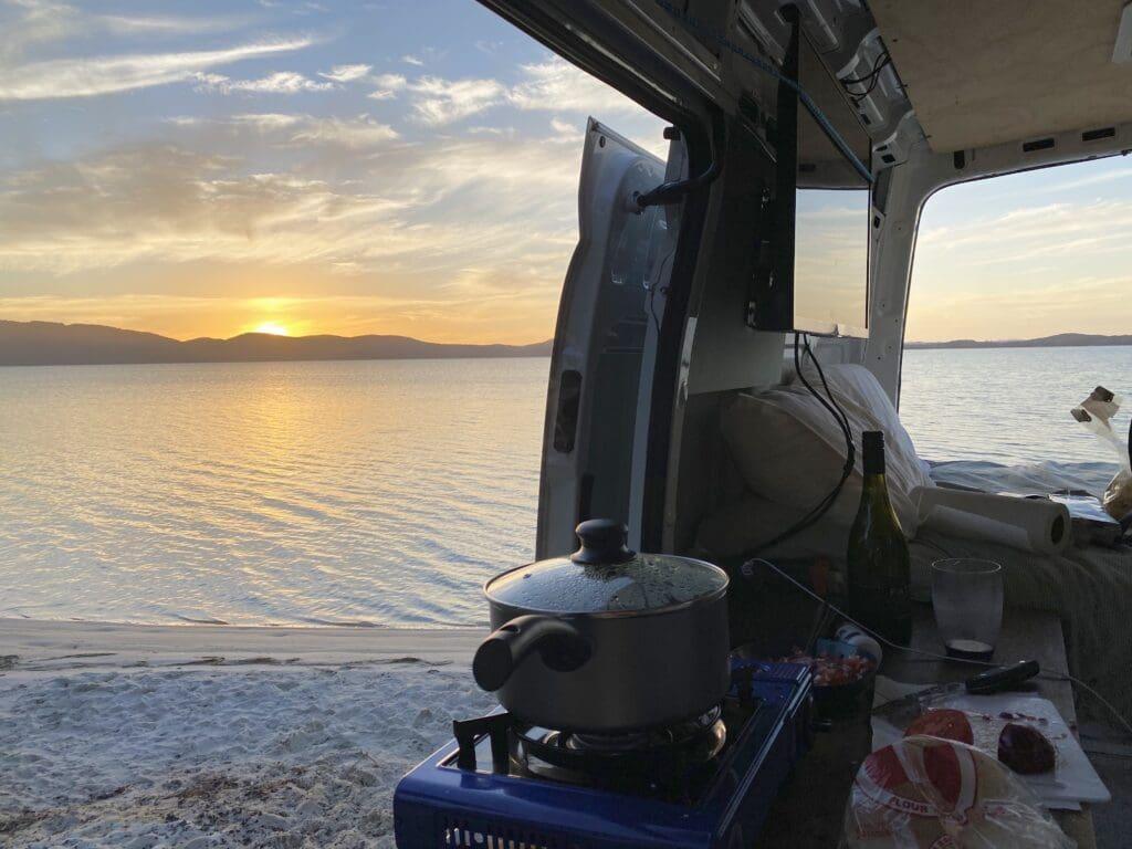 Campervan overlooking beach view