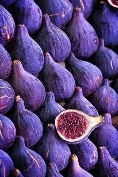 A close up of some purple figs.