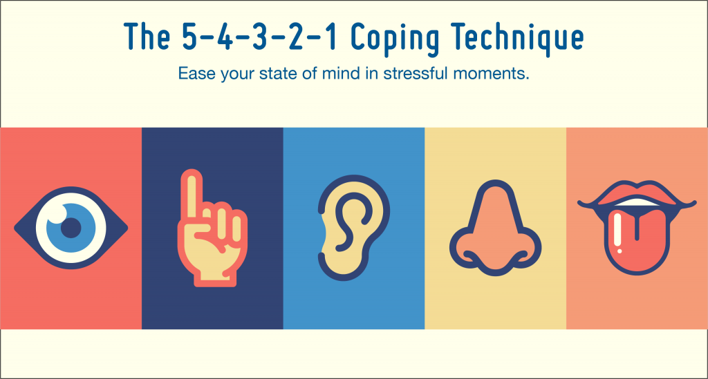 An infographic of the 5-4-3-2-1 coping technique for anxiety.