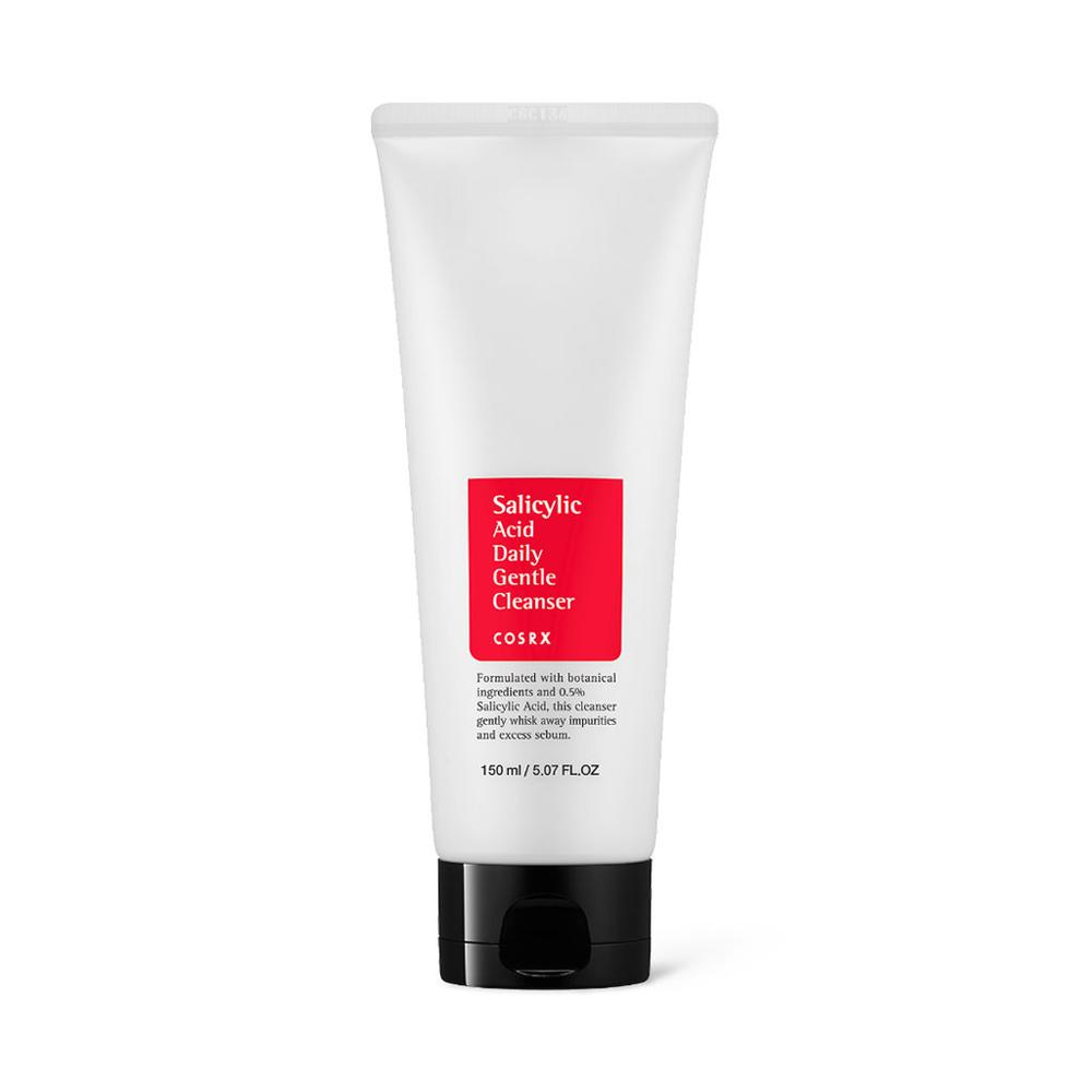 White tube bottle with red label and salicylic acid